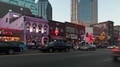 4K Nashville Honky-tonk District Twilight Timelapse 3b Stock Footage
