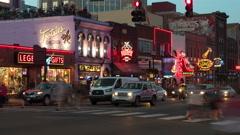 4K Nashville Honky-tonk District Twilight Timelapse 4b Stock Footage