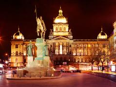 National Museum on Wenceslas Square in Prague - stock photo