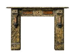 Fireplace surround in marble multi coloured antique Victorian isolated Stock Photos