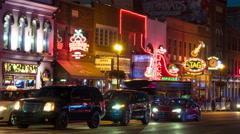 4K Nashville Honky-tonk District Night Timelapse 6b Stock Footage