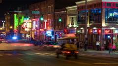 4K Nashville Honky-tonk District Night Timelapse 7b Stock Footage