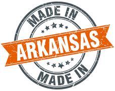 Arkansas orange grunge ribbon stamp on white - stock illustration
