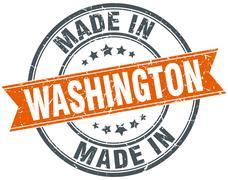 Washington orange grunge ribbon stamp on white Stock Illustration