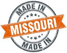Missouri orange grunge ribbon stamp on white - stock illustration