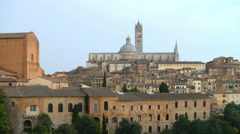 Cathedral in the old town of medieval Siena, Italy, Europe. Stock Footage