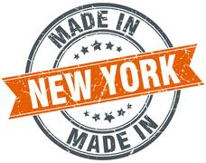 New York orange grunge ribbon stamp on white - stock illustration