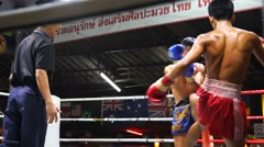 Muay thai violent kick exchange - stock footage
