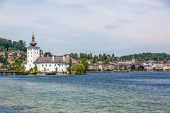 Stock Photo of Castle Ort, Gmunden, view from the jetty