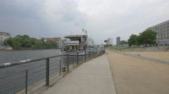 A boat hostel & lounge on the riverside in Berlin Stock Footage