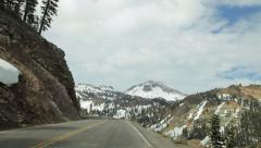 Driving Lassen Peak Highway towards Lassen Peak Stock Footage