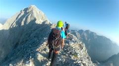 TRIGLAV, SLOVENIA - circa Mountaineer pov to expedition climbing Stock Footage