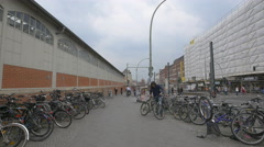 Bikes parked near Berlin Warschauer Strasse station Stock Footage