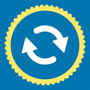 Refresh flat yellow and white colors round stamp icon Stock Illustration