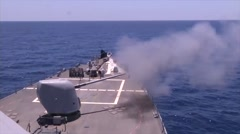 USS Donald Cook Live Fire Exercise Stock Footage