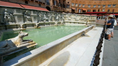 Fonte Gaia fountain in Siena, Tuscany, Italy. Stock Footage