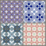 Seamless vintage background collection - victorian ornament tile in vector. - stock illustration