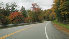 Driving on Kancamagus Highway, New Hampshire, in Autumn Stock Footage