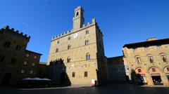 Medieval main square Piazza dei Priori in Volterra, Italy. Stock Footage