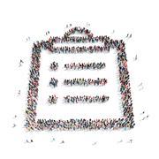 Stock Illustration of group  people  shape sheet  letter
