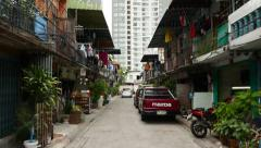Low-rise building district against modern high-rise blocks at inner-city area Stock Footage