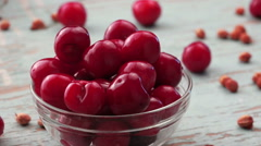 Sweet Cherries in Bowl on Rustic Table Stock Footage
