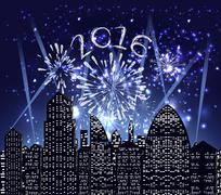 Happy new year 2016 with firework city at night Piirros
