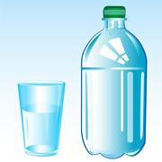 Mineral water and glass Stock Illustration