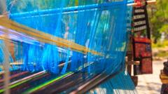 Work of old weaving machine at culture centre Tháp Bà Ponagar Stock Footage