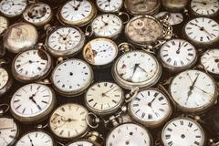 Retro styled image of old pocket watches Stock Photos