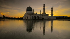 Sunrise at Likas Mosque in Kota Kinabalu, Sabah, Malaysia South China Sea Stock Footage
