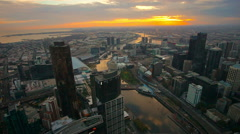 Aerial view of Melbourne cityscape during sunset. Stock Footage