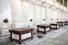 Suleymaniye Mosque in Istanbul, Turkey. Places for ritual ablution. - stock photo