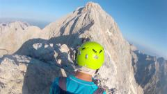 Mountaineer pov to expedition climbing to Triglav summit on Julian Alps Stock Footage