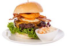 Stock Photo of Delicious egg and bacon cheeseburger