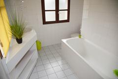 Well decorated modern white  washroom, - stock photo
