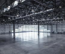 Interior of an empty warehouse - stock photo