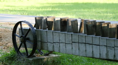 Long piece of wood with wheels at Astra Museum, Sibiu Stock Footage