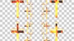 Burning crosses Animation with alpha - stock footage