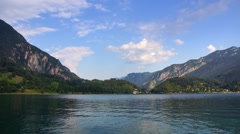 Evening on Ledro Lake in Italian Alps Stock Footage
