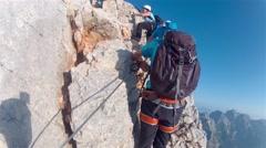 TRIGLAV, SLOVENIA, Mountaineer pov to expedition climbing Stock Footage
