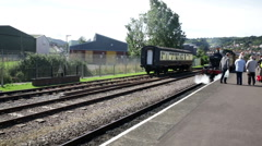 Steam Train 4160 pulling out of Minehead Station Stock Footage