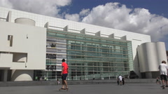 Barcelona MACBA The Museum of Contemporary Art and Skateboard Park Stock Footage