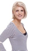 Smiling Pretty Blond Woman in Casual Stripe Shirt - stock photo
