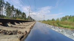 Railway tracks and clouds. Time-lapse Stock Footage