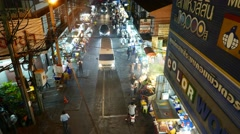 Night street food stalls from above, general view, lively area, nightlife Stock Footage