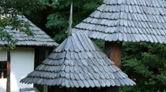 View of old roofs at the Open Air Museum in Sibiu Stock Footage