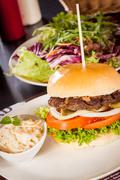 Stock Photo of Cheeseburger with cole slaw