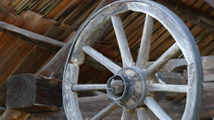 Wooden wheel at the Open Air Museum of Sibiu - stock footage