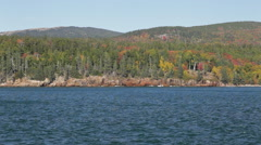 Rocky Acadia National Park, Maine coastline in Autumn Stock Footage